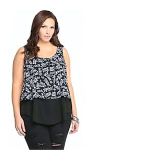 Torrid Black White French Graffiti Words Top Sz 5